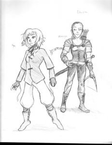 Nyx and Elmiryn Early Concept Sketch